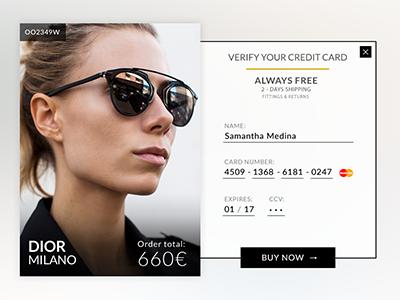 DailyUI 002 fashion style checkout shop creditcard verify ui 002 dailyui
