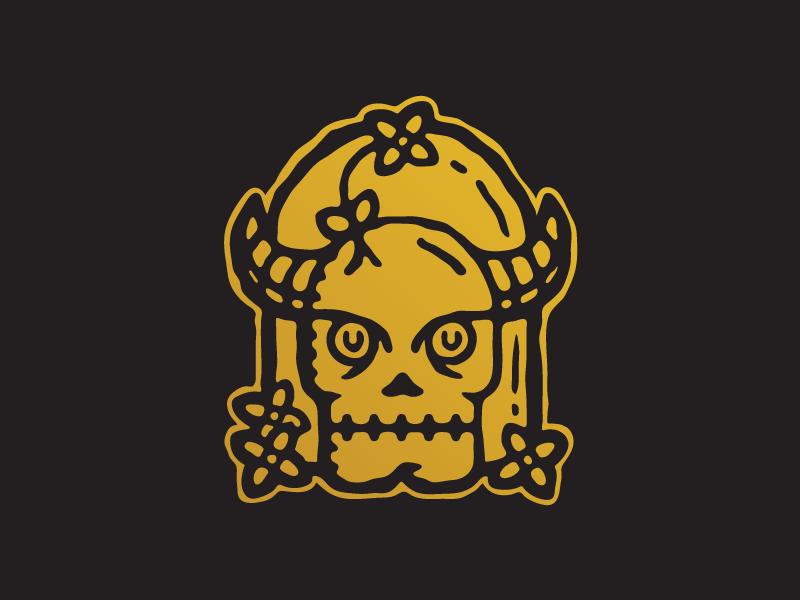 Skull and Flowers flower sticker illustration vector skull