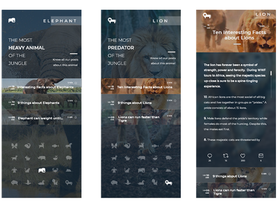 Blog using the Animal Icons Kit of @SteveWolf raylin aquino stevewolf adobexd ui app mobile posts blog