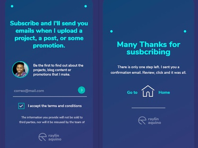 Newsletter Box + Thank you page raylinaquino webdesign web ux web ux designer ux  ui newsletter design newsletter website
