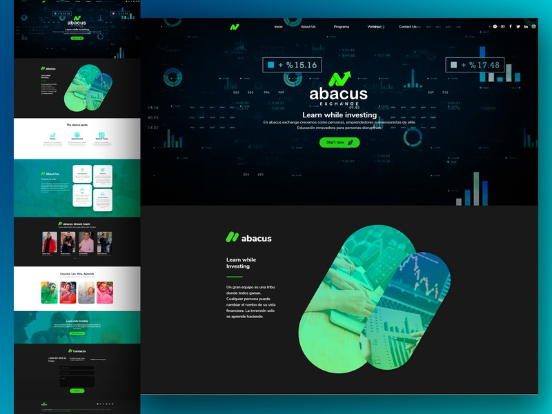 Abacus Exchange / Landing Page - Web Design + Wordpress abacus wordpress landing page design stock market webdesign website uidesign adobexd raylin