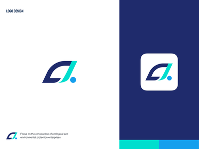 Environmental protection brand environment leaf brand identity blue design illustration logo branding icon