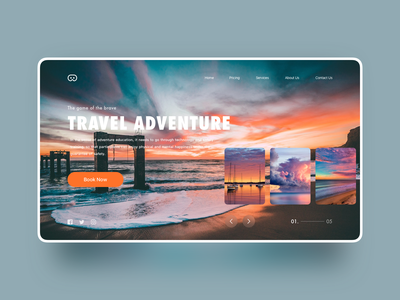Travel adventure web interface design concept interface travel blog layout guide search adventure book explore travel website travel images icon illustrator web design ui