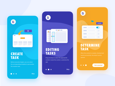 Onboarding guide icons moblie uiux ux mockup yellow blue cards onboarding app vector logo illustration icon design interface ui