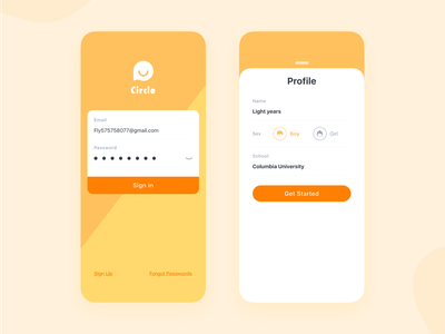 Sign up/Sign in UI iphone x circle feed dashboad clean account sex profile yellow signup sign in shape register login page login color app