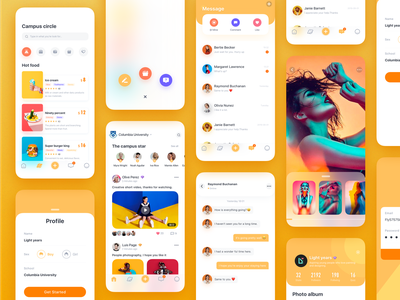 The campus social app yellow ux clear card social campus logo photography color app illustrator web icon design interface ui