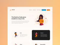 Leadership UX illustration ux ui design landing page arts peace responsibility honor love respect leadership dance code