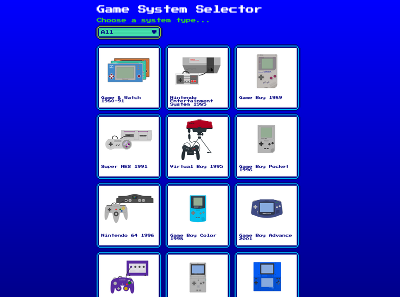 Retro game system selector