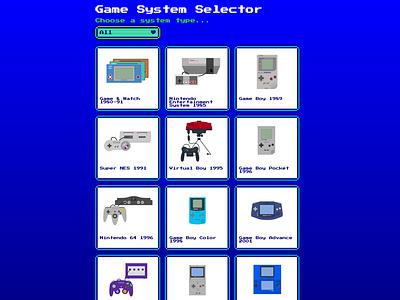 Retro game system selector vectorart css flexbox gaming retro game system