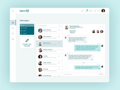 eCemcat Chat cemcat barcelona multiplesclerosis uiux messages chat dashboard ui design ui