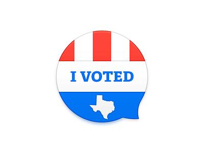 I Voted! texasturnout tribune texas pin sticker election voted vote