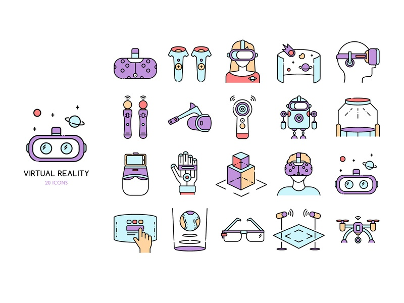 ★ Virtual Reality ★ controllers headset star cosmos illustrator vector illustration ar art vr pack set icon
