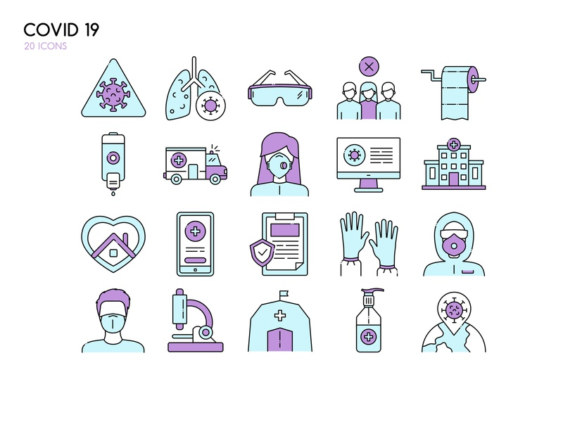 Covid - 19 set icons ♥ doctor respirator mask disease world hospital home isolated set icons epidemy covid19