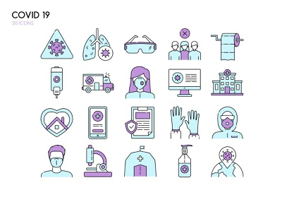 Covid - 19 set icons ♥ doctor respirator mask disease world hospital home isolated set icons epidemy covid19