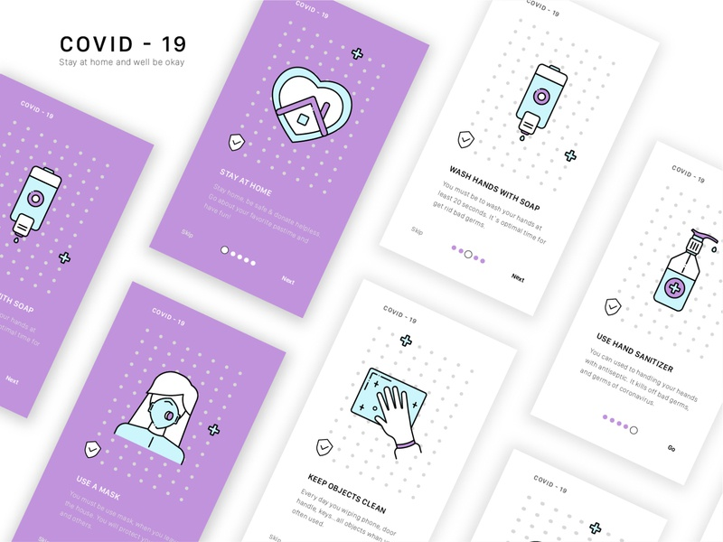 Covid - 19 Onboarding ♥ sanitizer mask design step ui clean set soap home screens icon epidemic covid19 app onboarding