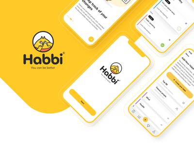 Habbi App - IOS application user interface design wireframe ios yelow interface character mobile app ux ui habit