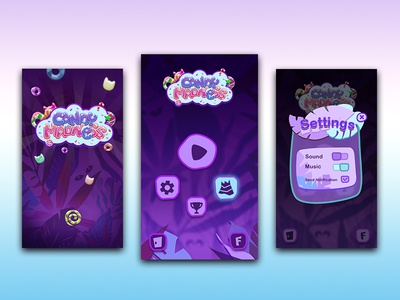 Game Candy Madness photoshop art gameassets designui mobile game sweet mobile game purple interface mobile app ui madness candy