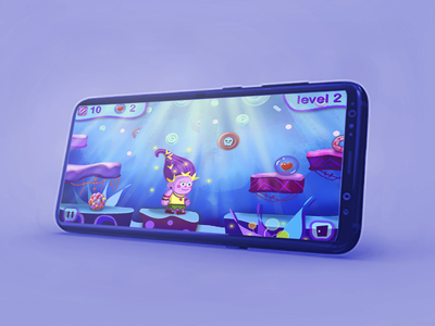 Mobile game mockup mobile ui ui level mobile adventuregame adventures funny elf mobile game sweet candy madness