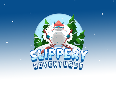 Slippery Adventures game hero logo lowpoly logovector adventures snow personage mobile game winter gamelogo yety logo2d logo