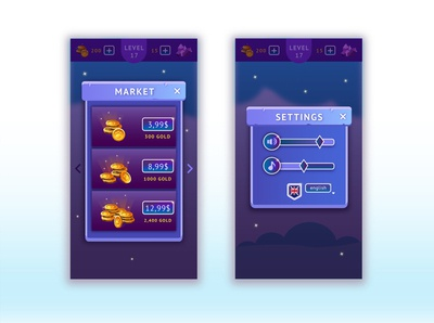 Mobile game game volume market settings interface button coin vector illustrator ux ui mobile game