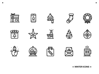 ❆Winter Icons❆ hot drink present star wreath calendar postcard smartphone snowman champagne snow globe bauble christmas tree christmas