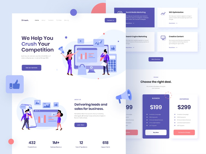 Dimark Digital - marketing landing page marketing agency illustration marketing landing page homepage