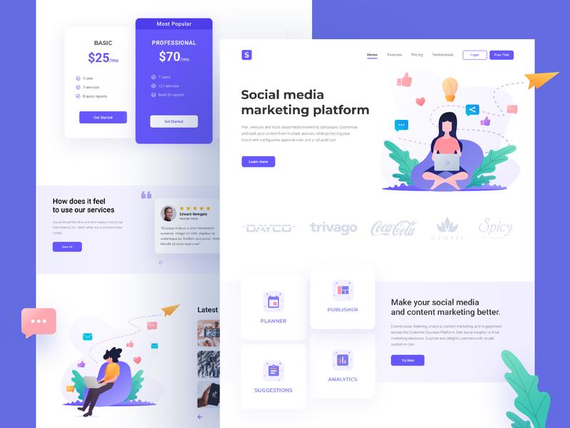 Social Media Marketing Landing Page ui ux illustration homepage landing page