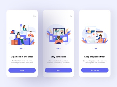 Project Management Tool App - Onboarding Screen project management tool freelancer freelance work from home ui ux onboarding screen illustration