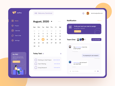 Project management tool dashboard task app task manager team chat project calendar work from home project management tool project management dashboard