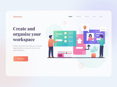 Digital workspace header project management project management tool ui ux landing page homepage illustration