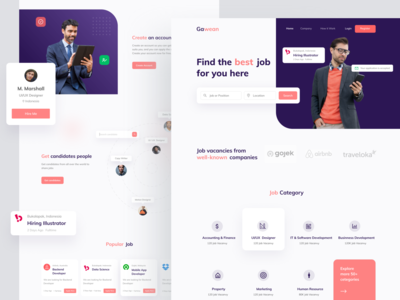 Job finder landing page job search job board job finder ui ux landing page homepage