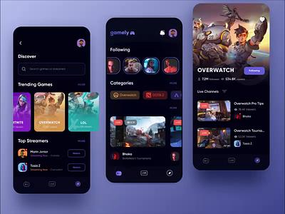 Gamely - Game Streaming App protopie prototype animation streaming app gaming livestream game streaming app gaming app