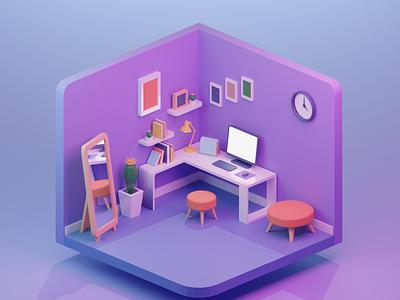 freelancer workstation 3D illustration 3d blender workstation working space freelancer workplace