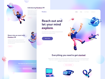 Pandora VR Store Website with 3D illustration homepage augmented reality virtual reality landingpage 3d object 3d illustration