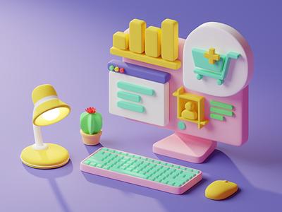 3D illustration desktop desktop 3d object 3d art 3d illustration
