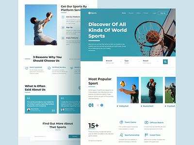 Sport Landing Page ui logo design exploration uiux homepage hero image landing page header illustration