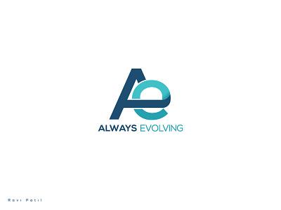 Always Evolving corporate logo concept monogram ae branding typography creative evolving