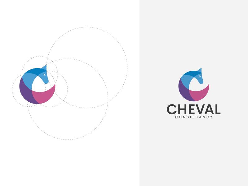 CHEVAL CONSULTANCY LOGO ravi patil icon chevel consultancy horse animal animals corporate logo shape golden ratio branding logo logo creative