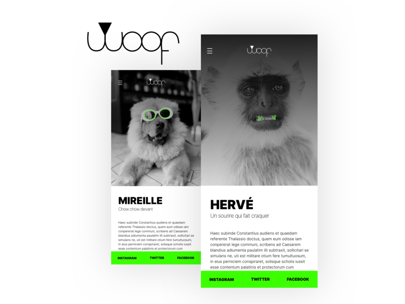 DAILY UI #010 - WOOF lol identity black  white green animal illustration logo daily ui branding dailyui web ui design brand who lets the dog out