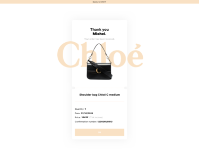 DAILYUI#017 identity daily ui order received ticket chloé web ui design