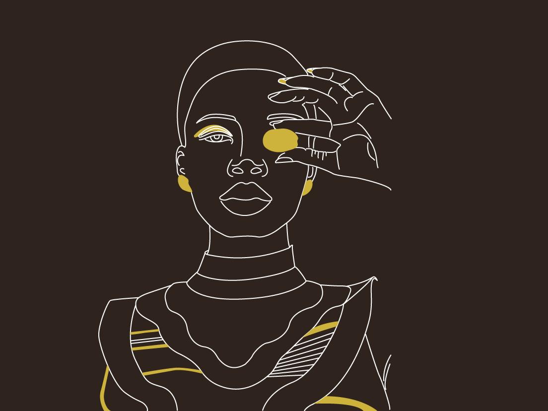 Girl 05 girl illustration illustration giraffe africa dark accent yellow black lineart girls