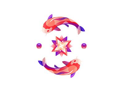 Koi carp illustration icon artwork illustration design brand identity illustration logotype brand style vintage symbol flat drop water water lily typography print fishing koi carp illustration fish
