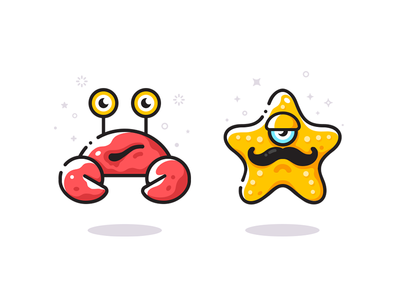 Sea friends game characters mobile app interaction game designer game ui game app design app character design character cute game design vector icon  symbol crab starfish stories interactive books kids children mascot identity illustrations character game