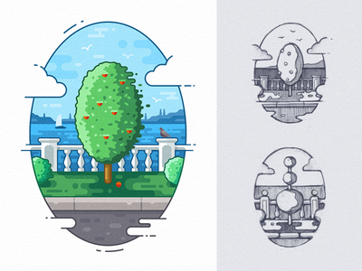 Landscape design illustration ui illustration web page illustration vector graphic landscape illustration illustration design illustration art game design brand identity illustration promenade birds architecture yacht clouds magazine illustration ground foliage grass apple tree flat illustration landscape design