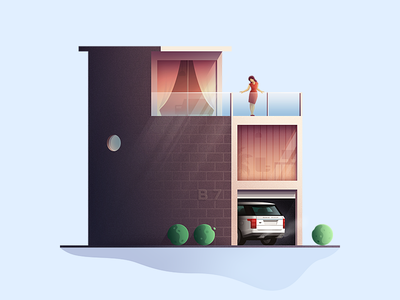 Private house illustration game ui web page illustration vector graphic landscape illustration illustration design illustration art brand identity illustration game design construction bricks flat human exterior range rover car private house flat style illustration architecture building