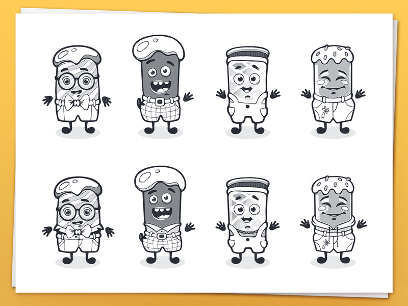 Ice Cream Characters mobile game product design mobile application game design sketches casual cartoon character identity illustrations children character cute kids illustration work in process mascot sketches ice cream character design cartoon app branding identity