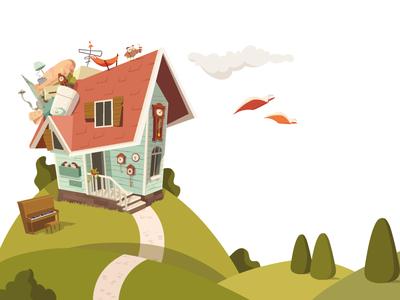 Pistachio's House roof הבית של פיסטוק owl kids illustration adobe illustrator preschool house childrensbooks vector illustration