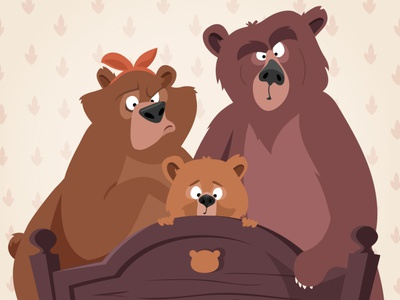 Goldilocks and the Three Bears animals character preschool vector childrens book adobe illustrator kids illustration folktale bears goldilocks and the three bears character design