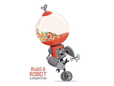 Build a Robot gum cute kids illustration adobe illustrator vector gumball robot character design illustraion