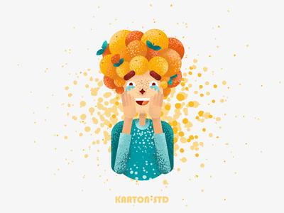 Flat Design Tangerine Girl Character